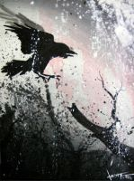 paint, crow by esophie