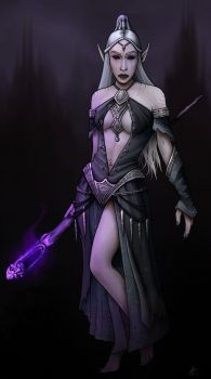 Dark Elf female by Eggmungus