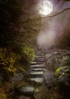 PREMIUM background - Stairs in the moonlight2 by Heavenia
