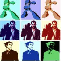 Megaman,Frank West,and Phoenix Wright pop art by DevintheCool