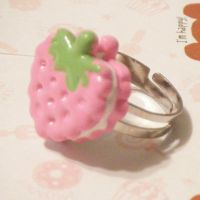 Kawaii Pink Strawberry Ring by hellohappycrafts