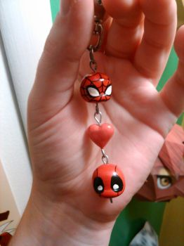 Spideypool keychain by Red-Flare