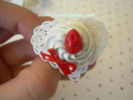 Big strawberry lacy heart ring by The-Cute-Storm