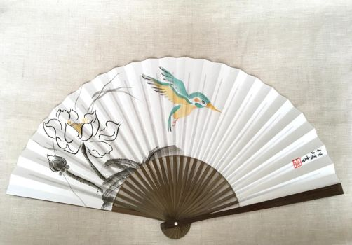 On a Mission, hand-painted Japanese fan by catherinejao