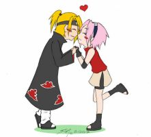 Sakura n Deidara-Chibi Love by Rossilyn