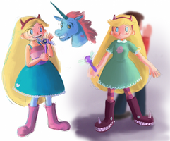 star,marco and pony head doodles by X3carlyX3