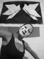Origami Mime BW by iDoux