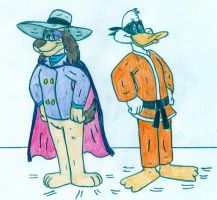 HJ - Hong Kong Phooey and Darkwing Duck by Jose-Ramiro