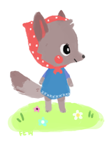 Wolf in a Polka-dot Babushka by foxtribe