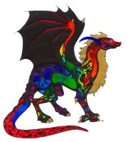 Rainbow Dragon by howling00greywolf