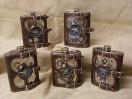 Steampunk Flask Set NearandFar by Justenjoyinglife