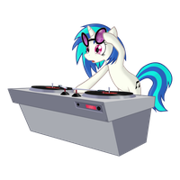 Vinyl Scratch suprised by somepony... by Slackerburst