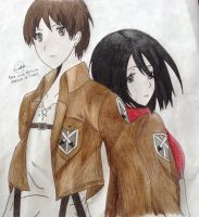 Eren and Mikasa (Attack on titan) by PixelPenArt