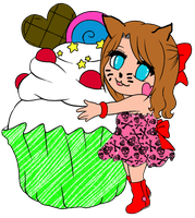 Cupcake girl lineart colored by brootalz