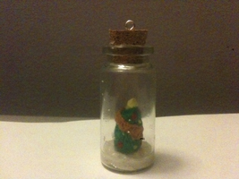 Polymer clay Christmas tree in a bottle by muffinthehamster11