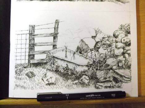 Field Corner WIP for Day 10 of Inktober by Wenchkin