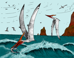 Pterosaurs and Ocean by flufdrax