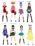 Anime school uniforms by Shokka-chan