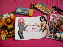 Jean Grey and Wonderwoman. by Troianocomics