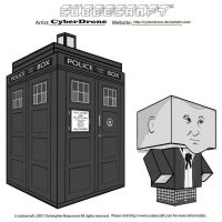 Cubeecraft - TARDIS 'B-W' by CyberDrone