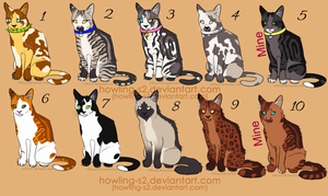 Feline Adoptables 2 Points Each (CLOSED) by Howling-s2