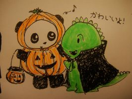Dino and Panda Halloween by MelodicInterval