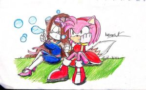 Art Request- Amy and Samantha Blowing Bubbles by Gaming-Master