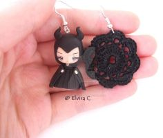 Maleficent polymer clay earrings by elvira-creations