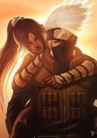 Kakashi and Yoruichi Color by borjen-art