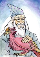 Dumbledore and Fawkes by jackiemakescomics