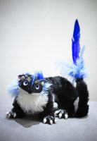 Poseable art doll:Black and blue dragon by Niicchan