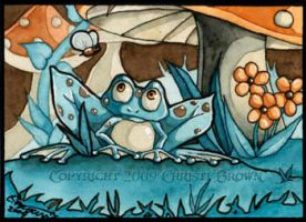Blue Frog and Fly ACEO ATC by candcfantasyart