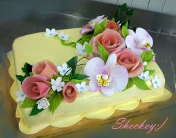 Flowers Cake by 6eki