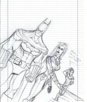 Batman Talia Nightwing rought pen sketch by Sabrerine911