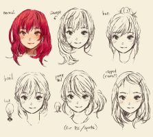 cute doodle hair style manga by geneme