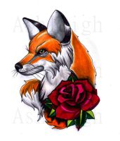 Traditional Fox And Rose by tattoosbyashleigh
