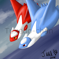 Pokemon:Latios and Latias by tuxedo-chan