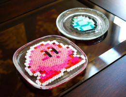 Perler Bead Coasters: Kirby and Minecraft Diamond by MilkyBoutique
