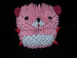 Origami Pink, White, Red Teddy by Rescue-Is-Possible