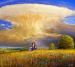 Study thundercloud with deer by andrekosslick