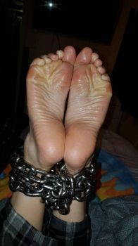 Chained oily feet 4  by MissSexyfeet24