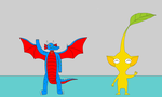 Kiddo and a yellow Pikmin by Kiddo-the-dragon