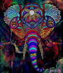 Psychedelic Elephant by MOSHzaic
