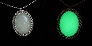 Chainmaille Wrapped Glowing Cabochon by Ichi-Black