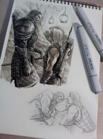 Couples in my sketchbook.XD by aenaluck