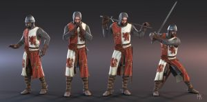 3D character model - 13th century heraldic knight by MacX85
