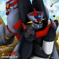 Back to Back with Giant Robo and Mazinger Z by bluetiger202
