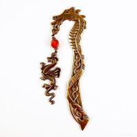Bookmark Bronze Dragon - Red glass bead by SuniMam