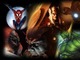 Marvel Heroes by goliad