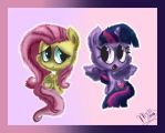 Fluttershy and Twilight chibi by Myssi98765